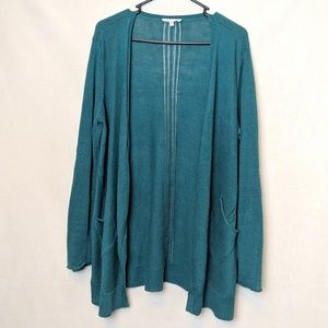 Eileen Fisher, green / blue cardigan, size Large